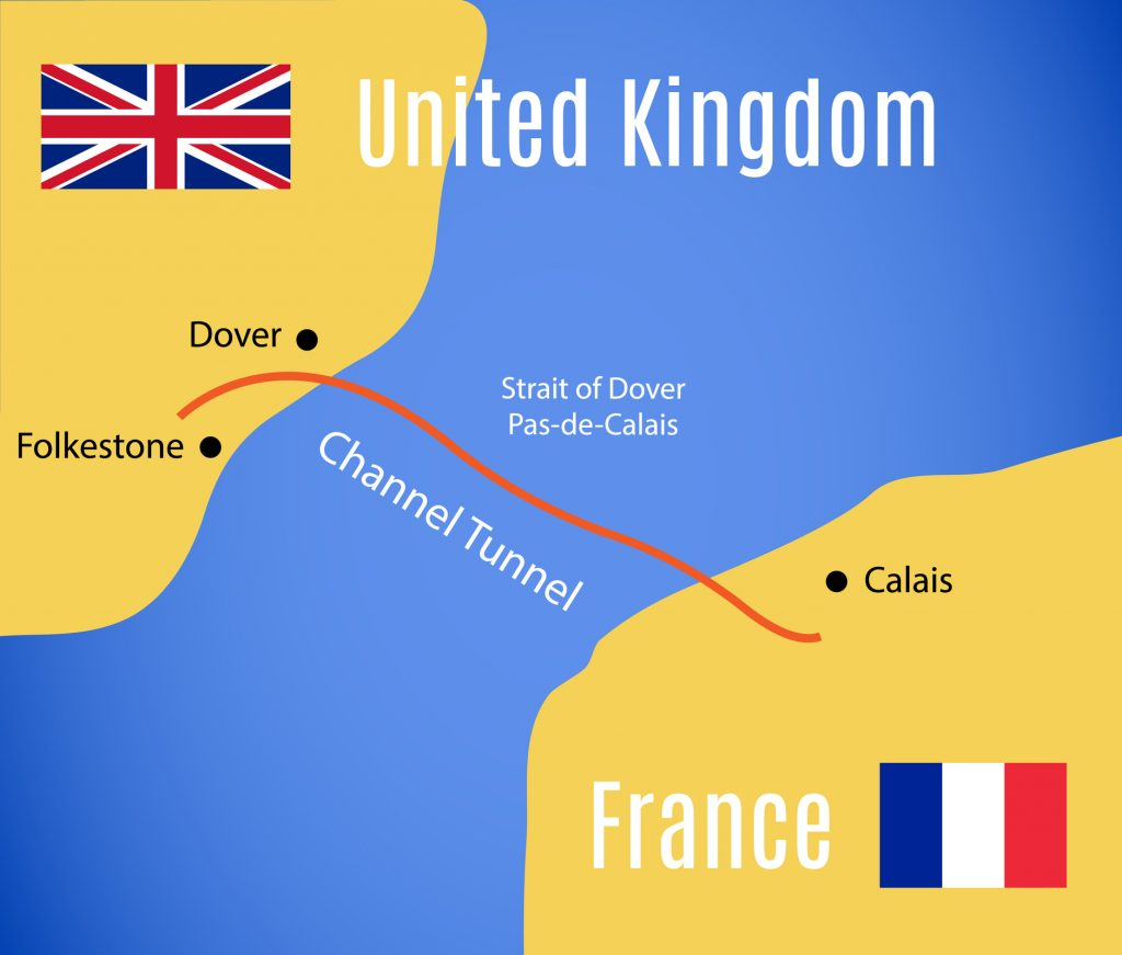 Schematic map of the Eurotunnel (Channel Tunnel)