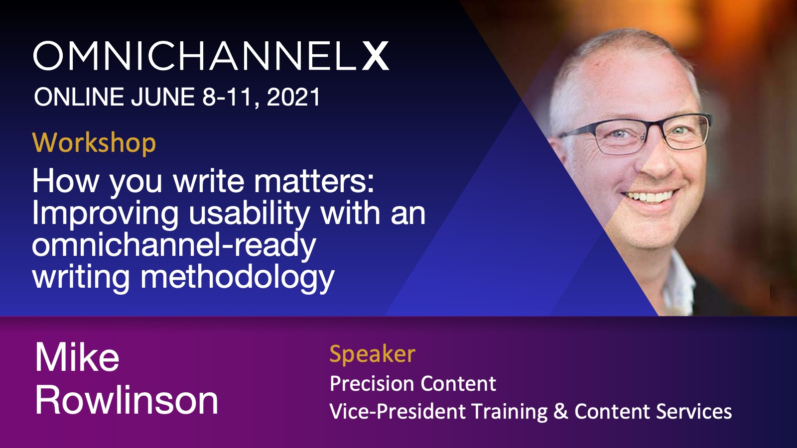 Mike Rowlinson. OmnichannelX. Online June 8-11, 2021. Workshop: How you write matters: Improving usability with an omnichannel-ready methodology