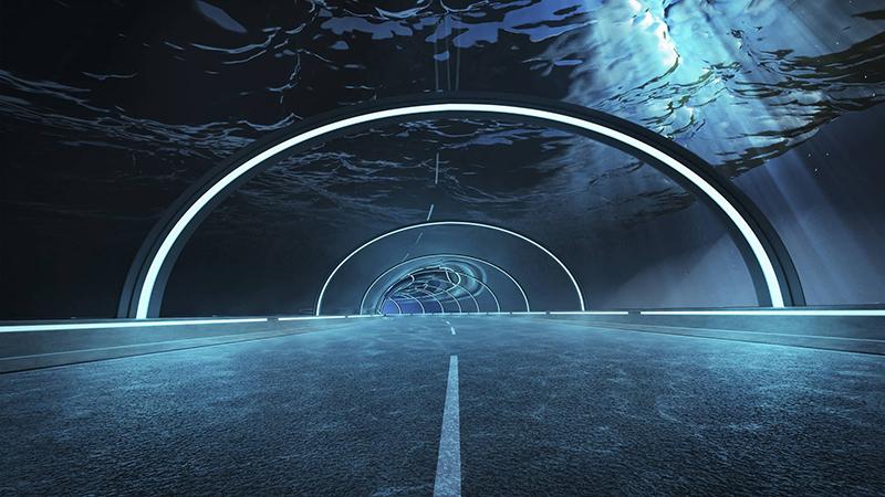 Futuristic underwater tunnel